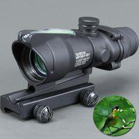 alcance de punto rojo de fibra óptica al por mayor-Trijicon Hunting Scope ACOG 1X32 Tactical Red Dot Sight Real Visor de fibra óptica Riflescope con Picatinny Rail