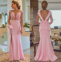 Wholesale carpet cutting - Elegant Pink Split Evening Dresses 2018 A Line Cap Sleeves Sheer V Neck V Cut Backless with Sash Long Party Mother Celebrity Gowns