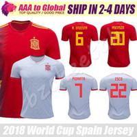 Wholesale Espana Jersey - Spain jersey 2018 World Cup Camiseta de futbol Espana red #6 A.INIESTA #7 MORATA #20 ASENSIO shirts 17 18 Spain Soccer Jerseys