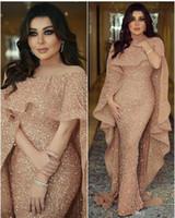 vestidos longos venda por atacado-2020 Luxo sereia árabes Vestidos longos Sheer Jewel Neck tampado lantejoulas Pavimento Comprimento Médio Oriente Prom Formal Festa Vestidos BC0199