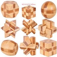 kong ming puzzle al por mayor-2018 nuevo Clásico 3D IQ Cerebro de madera Puzzle juguetes Bamboo Interlocking Puzzles Juego 3D Kong Ming lock 9 estilos C3407