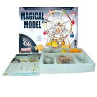 juegos de rompecabezas de metal al por mayor-Bloques Ladrillos Juguetes Iron Commander 3D Puzzle DIY Metal Building Block 945PCS / Set Ferris Wheel con MusicLights, Music Box Best Kids Toys