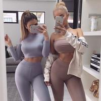сексуальный костюм из двух частей оптовых-Женщины из двух частей брюки с высоким воротом с длинным рукавом длинные брюки два шт. Костюмы сексуальные стройные женские спортивные костюмы активные модные брюки костюмы