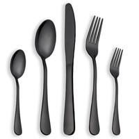 Wholesale Steel Table Spoons - BERGLANDER Black set of 24 pieces of table cutlery set stainless steel dinnerware dinner knives forks spoons set western classic