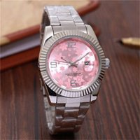 Wholesale round bracelet patterns - New Pink watch lady angel flower pattern Simple digital dial Luxury Designer women watches brand Ladies Silver and gold bracelet clock steel