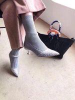 Wholesale Women Wearing Fur Heels - 8004 new season 4 autumn women's wear grey, color, naked, beige sweater, elastic cotton knitted socks fabric, short heeled high heels, drill