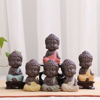 figurines antiques achat en gros de-Décor à la maison Ensemble De Thé Petite Statue De Bouddha Moine Pourpre Sable Céramique Figurine Arts Résine Artisanat Viande Ornement Pur Main 4 5lr jj