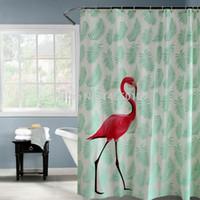 cortinas de folhas venda por atacado-Banho de plástico vermelho flamingo folhas verdes à prova d 'água cortina de chuveiro engrossar cortinas de chuveiro do banheiro fosco 180x180 cm 180x200 cm