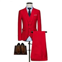 chaqueta esmeralda al por mayor-2018 waishidress moda vino rojo 3 piezas para hombre trajes trajes de boda novio / bestman esmoquin establece abrigo pantalón diseño imágenes (chaqueta + chaleco + pantalón)
