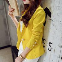 ingrosso giacca gialla delle signore-Giacche da donna 2018 Primavera Autunno Cappotti Giacca da lavoro formale da donna Fashion Leisure Slim giacca manica lunga giacca gialla Suit