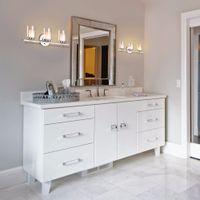 luces cromadas al por mayor-Giantex 3-Light Vanity Light montado en la pared con acabado en cromo cepillado pantalla de vidrio aplique de pared de baño muebles modernos EP23367