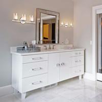 luzes de montagem moderna parede banheiro venda por atacado-Giantex 3-Luz Luz Da Vaidade Montado Na Parede Escovado Acabamento Cromado Sombra De Vidro Casa de Banho Arandela de Parede mobiliário Moderno EP23367