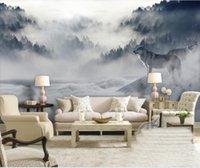 pegatinas de pared de animales del bosque al por mayor-Montaña Niebla Bosque Lobo Animal 3D Papel Papel pintado mural para el dormitorio Sofá del fondo 3D de papel foto de la pared murales de pared 3D de la etiqueta engomada