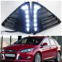 ingrosso luci fendinebbia-1 luce di marcia diurna dell'automobile LED di paia per Ford Focus Fog Lampada DRL 2011 2012 2013 2014 bianco