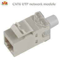 adaptador para salida al por mayor-Al por mayor-2pcs / lot UTP CAT6 módulo de red gilt180 cable conector de información RJ45 socket Computer Outlet adaptador de cable Keystone Jack
