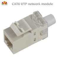 Wholesale rj45 cat6 wiring - Wholesale- 2pcs lot UTP CAT6 network module gilt180 wire RJ45 connector information socket Computer Outlet Cable adapter Keystone Jack