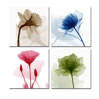 Wholesale colorful posters - Canvas Print Painting Wall Art Poster 4 Pieces Colorful Water Lily Framework HD Modular Pictures Home Decor For Living Room