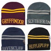 beanie şapka tasarımı toptan satış-8 tasarım Unisex Harry Potter Koleji Beanie Kış Örgü Şapka Ravenclaw Gryffindor Slytherin Hufflepuff Çizgili Kasketleri Cosplay şapka KKA2071