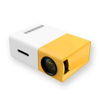 hdmi usb media player toptan satış-YG300 LED Taşınabilir Projektör 500LM 3.5mm Ses 320x240 Piksel HDMI USB Mini YG-300 Projektör Ev Medya Oynatıcı