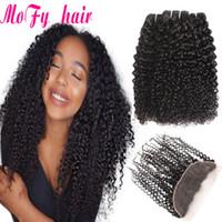 afro kinky kıvırcık insan saçı örgüleri toptan satış-Brezilyalı Saç Örgü Kapatma Ile 3 Demetleri Ile 4 Adet Afro Kinky Kıvırcık İnsan Saç Paketler Dantel Frontal Kapatma Ile Olmayan Remy Kinky Kıvırcık