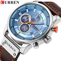 мужские часы curren оптовых-Top  CURREN 2018 Fashion Leather Strap Quartz Men Watches Casual Date Business Male Wristwatches Clock Montre Homme