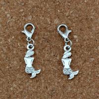 gümüş denizkızı takılar toptan satış-150 Adet / grup ile Antik gümüş Mermaid Charms Boncuk Istakoz kapat Fit Charm Bilezik DIY Takı 8.8x34mm A-349b