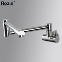 Wholesale folding kitchen taps resale online - Wall Mount Chrome Brass Cold Water Bathroom Kitchen Faucet Single Handle Stretch Folding Kitchen Water Taps