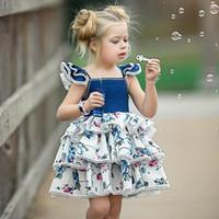 chaleco de la mosca al por mayor-Vestidos florales del cordón de la manga del vuelo de la manga de las muchachas 2018 Nuevos niños del vestido del chaleco de la princesa del cordón de los cabritos de los niños Ropa de la boutique Envío libre