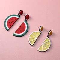 melancia do fruto dos desenhos animados venda por atacado-Novo Estilo Acrílico adorável lemon melancia fruit Cartoon brincos Jóias Para As Mulheres Melhor Presente