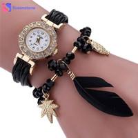 ingrosso orologi da polso in pelle-Feather PU Leather Weave Wrap Around Bracciale Orologio da donna Lady Crystal analogico al quarzo Orologio da polso casual