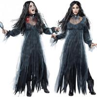 vestido asustadizo al por mayor-Mujeres Scary Zombie Style Cosplay Clothing Black Irregular Long Sleeve Long Halloween Ladies Cosplay Dress Nuevo