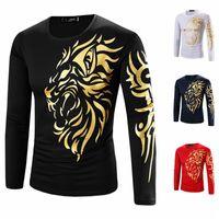 Wholesale T Shirt Designs Tattoo - Autumn and Winter Men's Long-Sleeved Garment Bronzing Printing Burst Models Tattoo Designs Male Long-Sleeved Crew Neck T-shirt