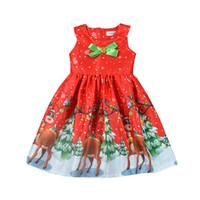 robes de noel achat en gros de-Bébé Filles Robe De Noël Enfants Wapiti Cerf Père Noël Noël Bowknot Robe Sans Manches 2018 Mode Arc Strass Boutique Enfants Vêtements