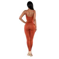 sırsız bodysuit tulum toptan satış-Seksi Kolsuz Backless Bodysuit Tulum 2017 Kadın Tulumlar Tek Parça Yoga Set Uzun Pantolon Spor Egzersiz Tayt Tayt