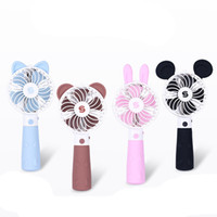 Wholesale Electric Cartoon Fans - Cute Summer Cartoon Style Mini USB Fan Handheld Charging Air Cooler Portable Electric Fan With Rechargeable Lithium Battery 4 Styles DHL