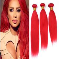 светло-красные волосы оптовых-9a бразильский Красный человеческих волос ткать 3 пучки шелковистой прямой светло-красный девственные волосы утка расширения 300 г много горячей продажи