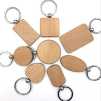 Wholesale Stainless Steel Rings Blanks - customize DIY Blank Wooden Key Chain Promotion Rectangle Heart Round Ellipse Carving Key ring Wood Key Chain Ring