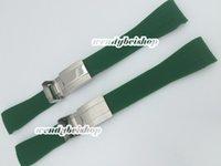 зеленые часы оптовых-20 мм новый мужской зеленый ремешок для часов силиконовая резина смотреть band изогнутый конец серебряный развертывание застежка пряжка для ROLWATCHBAND