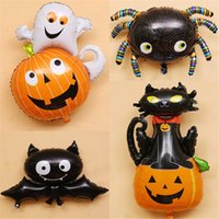 Wholesale pumpkin toys supplies - 7styles Halloween pumpkin latex ballons black cat bat ghost foil balloons halloween decor balloons supplies Party Decor props FFA720