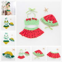 Wholesale girl swimsuits for sale - Group buy INS Cute Watermelon Shape Lace up Halter Hanging Neck Swimsuit with Hat Lovely Polka Dots Swimsuit Girls Fashion SPA Swimwears