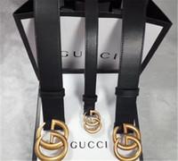 ingrosso confezione regalo cintura-2018 Cintura nera di fascia alta Cintura di alta qualità Cinghia di fibbia in pelle serpente di marca famosa in vera pelle per le donne degli uomini con il pacchetto regalo 3,8 centimetri