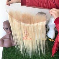 613 fermeture frontale blonde achat en gros de-Cheveux humains brésiliens 613 Blonde Dentelle Frontale Fermeture Droite 13x4 Partie Libre 10-20 pouce Remy Cheveux Livraison Gratuite