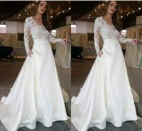 vestidos de abrigo de moda al por mayor-Vestidos de novia largos de moda con mangas largas de ilusión Encaje Vea la falda superior con bolsillos Diseñador Una línea Vestido de novia Vestidos de novia