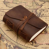 Wholesale leather book blank - MaoTu Vintage Leather Journal Writing NotRetro Diary Book Sketchbook Creative Gift NotCrafted Blank Paper