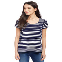 81590d73d6c Trendy Women Pregnant round neck pullover Tops striped Summer Short Sleeve  Nursing For Maternity T-Shirts one pieces