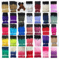 Wholesale ombre braiding hair two tones resale online - inch Synthetic High Temperature Fiber Ombre Two Tones Kanekalon BraIding Hair Extension g Jumbo Braiding Hair Extensions