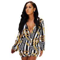 Wholesale black shirt blouse online - New Fashion Printed Blouse Women Tops Dress Long Sleeve Casual Turn Down Collar Ladies Blouses Shirt Dresses S XL