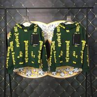 ingrosso badge angeli-18FW Palm Angel Lettera Distintivo con cappuccio Felpe con cappuccio allentate Uomini e donne Coppia Moda di alta qualità Nero Bianco con cappuccio verde HFWPWY100