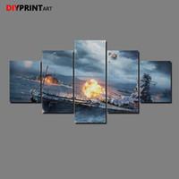abstrakte gemälde gesichter großhandel-World of Warships Sparks 5 Panel Leinwanddruck Malerei Wandbilder für Wohnzimmer A1196