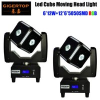 Wholesale show strip - 2XLot Fast Ship 6X12W RGBW Quad Color Strips Cube LED Moving Head Lights 8 Degree Beam Angle Professional Stage Shows Equipments